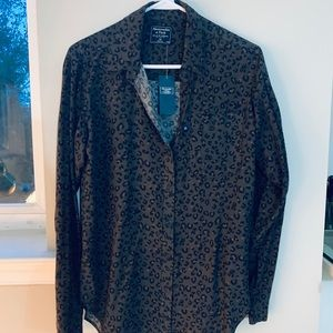 NWT Leopard Oversized Button Down XS